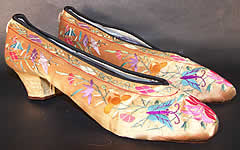 Chinese Gold Silk Embroidered Butterfly Slipper Shoes VTG