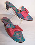 Vintage Daniel Green Brocade Bow Mules Slippers Shoes