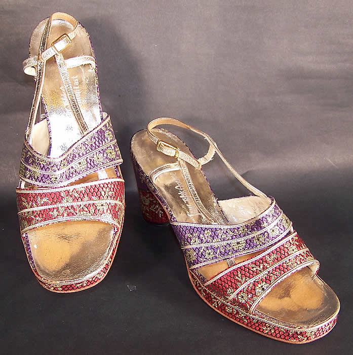 Vintage Saks Fifth Ave Fenton Last Silk Brocade Gold Lamé Sandal Shoes