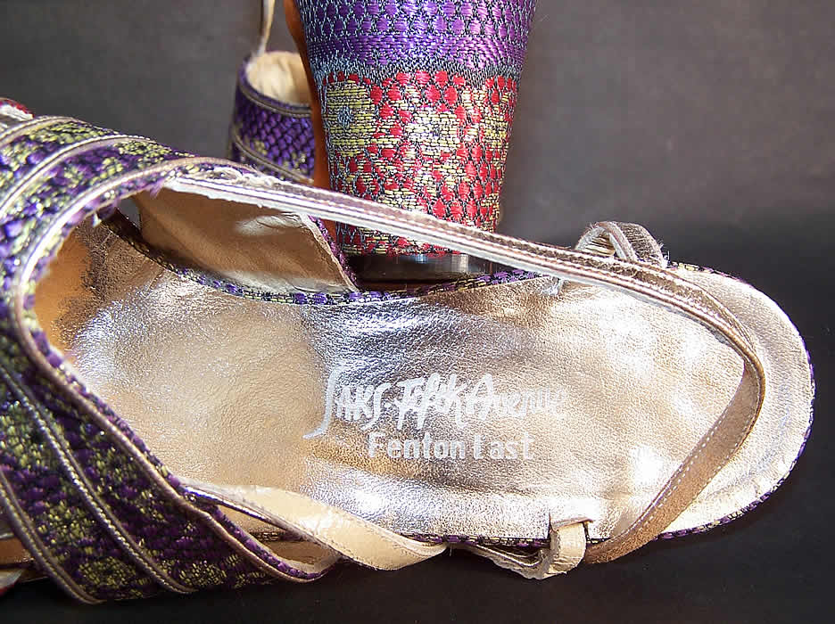 Vintage Saks Fifth Ave Fenton Last Silk Brocade Gold Lamé Sandal Shoes label