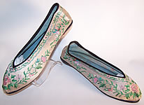 Antique Chinese Pink Silk Embroidered Floral Butterfly Bird Slipper Shoes