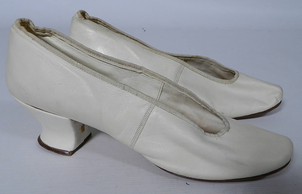 Victorian White Kid Leather Small Bridal Wedding Slippers Shoes