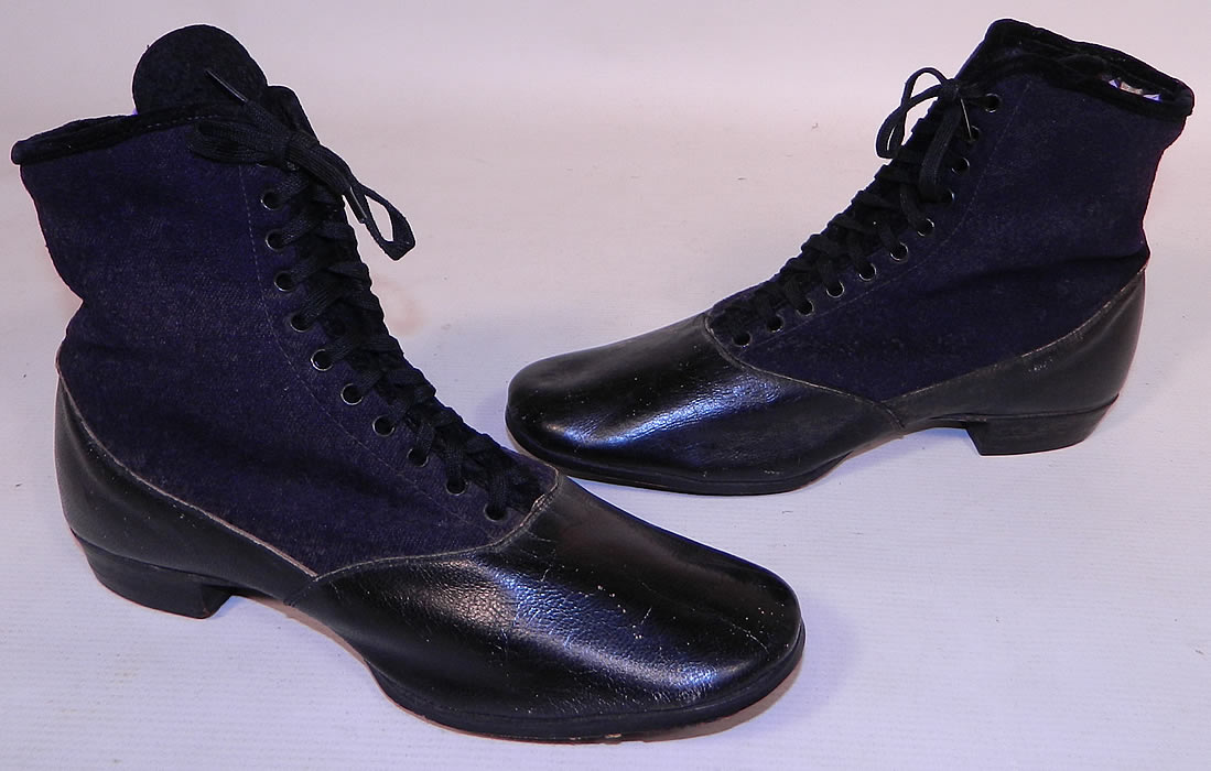 Victorian Black Leather Navy Blue Wool Winter High Top Lace-up Boots . These wonderful winter snow boots are fully lined in a gray wool fleece fabric inside for added warmth.