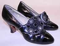 Vintage Mackey NY Black Leather Art Deco Beaded Buckle Flapper Shoes