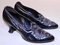 Victorian Vintage Black Leather Silver Steel Cut Beaded Trim Patriotic Stars Shoes