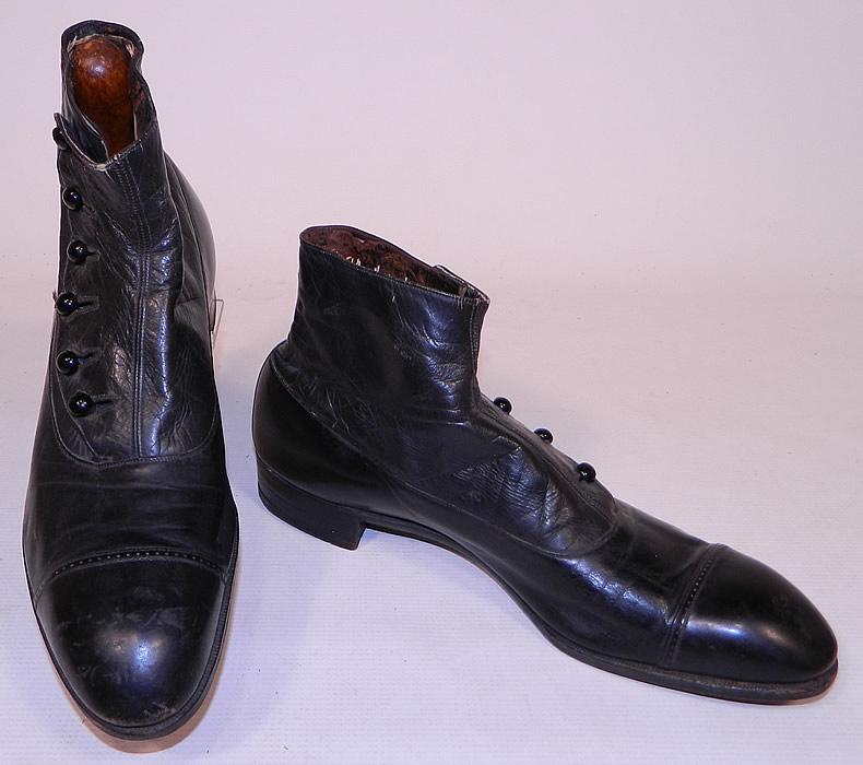 Victorian Vintage Edwin Clapp Shoe Mens Black Leather High