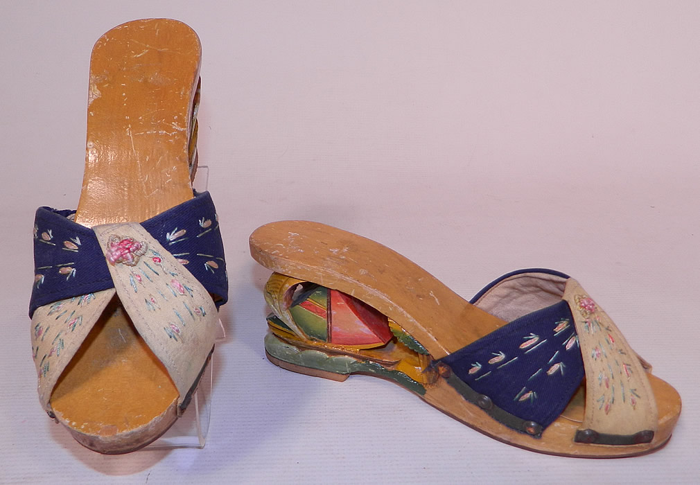 Vintage Philippines Hand Painted Carved Wooden Wedge