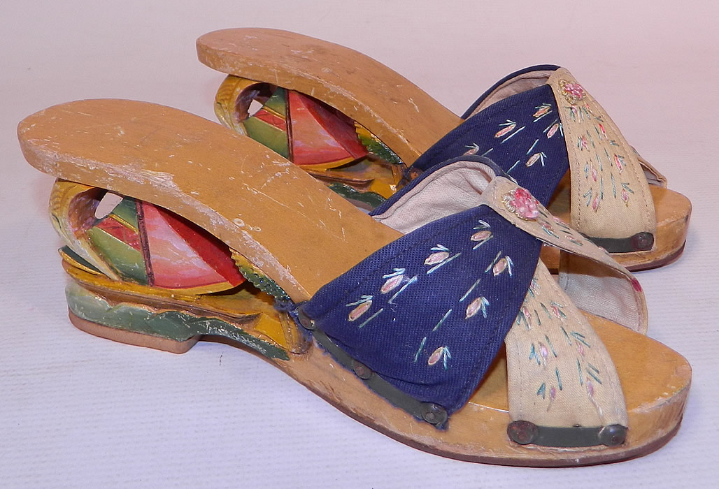 Vintage Philippines Hand Painted Carved Wooden Wedge Sailboat Mules Sandal Shoes