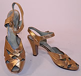 1930s Vintage Nisley Flexray Art Deco Gold Leather Ankle Strap Evening Dance Shoes