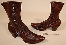 Victorian Antique Women's Brown Leather High Top Button Boots Shoe Hook