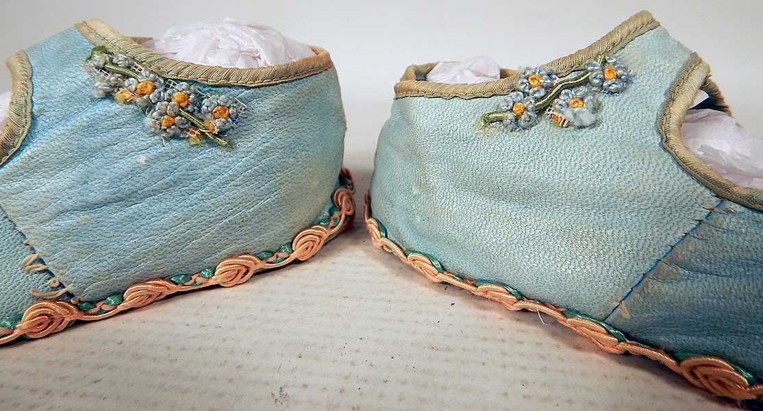 Antique Vintage Blue Kid Leather Silk Rosette Ribbon Mary Janes Childs Baby Shoes