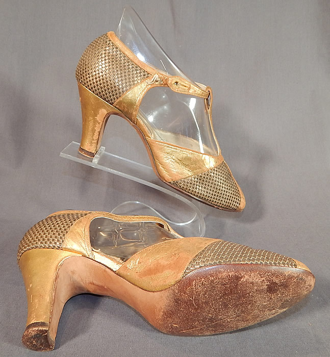 Vintage I. Miller Art Deco Gold Leather Woven Lame T-Strap Lamé Flapper Shoes