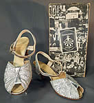 Vintage Hannahsons Footwear Silver Metallic Woven Mesh Ankle Strap Shoes & Box
