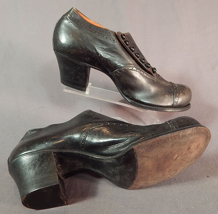 Edwardian Black Leather Low Side Button Bump Toe Womens Work Shoes