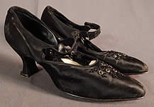 Edwardian Vintage Gundlach's Black Silk Beaded Button Strap Mary Jane Shoes