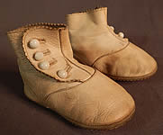 Edwardian Tan Kid Leather High Button Baby Boots Infant Childrens Shoes