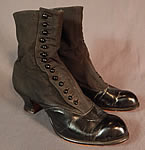 Victorian Womens Black Wool Leather High Top Button Boots Clarice TC Shoe Co.