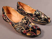Vintage Black Silk Satin Colorful Tambour Embroidery Boteh Paisley Slipper Shoes