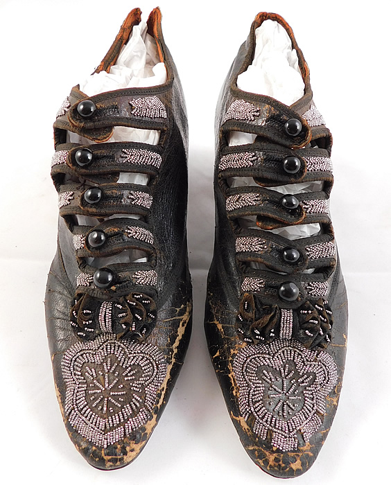 Victorian Antique Brown Leather Steel Cut Beaded 5 Button Strap Shoes