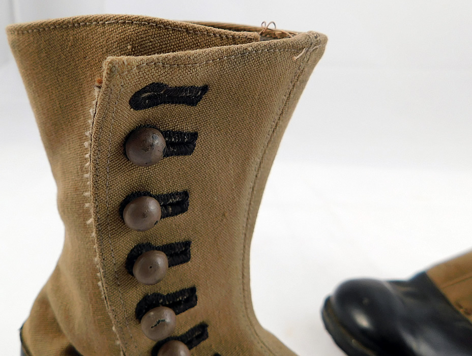Unworn Victorian Two Tone Khaki Canvas Leather High Top Button Boots