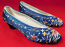 Vintage Antique Chinese Blue Silk Colorful Floral Lotus Embroidered Heel Shoes