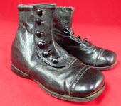 Vintage Edwardian Unworn Black Leather High Button Baby Boots Childs Shoes