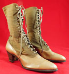 Unworn Edwardian Khaki Tan Wool Leather High Top Lace-up Boots & Shoe Box