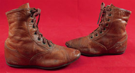 Victorian Antique Childrens Brown Leather Laceup Boots Pointed Toe Baby Shoes