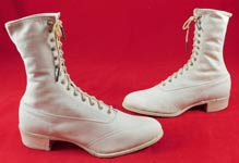 Unworn Edwardian White Leather High Top Rubber Sole Sneaker Boots Shoes