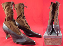 Unworn Edwardian Two Tone Brown High Top Laceup Cloth Boots & Shoe Box