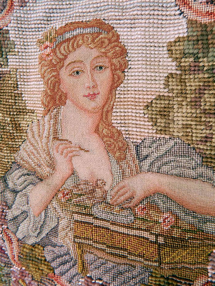 Antique 18th Century Inspired Needlepoint Petitpoint Portrait Greuze French Fabric. The fabric measure 37 by 35 inches and the embroidered oval is 60 inches in circumference.