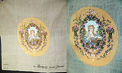 Antique 18th Century Inspired Needlepoint Petitpoint Portrait Greuze French Fabric