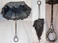 Edwardian Art Nouveau Antique Black Lace Carved Ebony Wood Handle Parasol