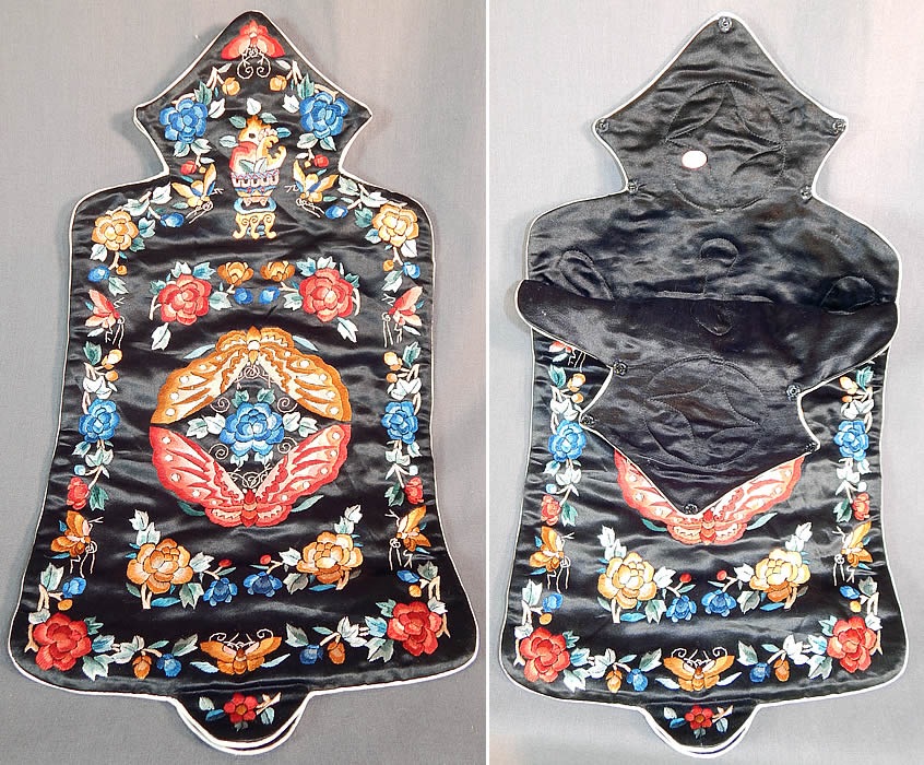 Vintage Chinese Colorful Silk Embroidered Butterfly Peony Hot Water Bottle Bag
