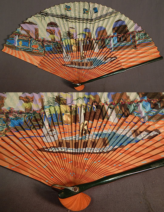 Vintage Hand Painted Spanish Courtyard Pleated Paper Spain Souvenir Folding Fan